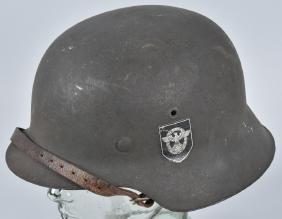 WW2 NAZI GERMAN M42 POLICE DOUBLE DECAL HELMET
