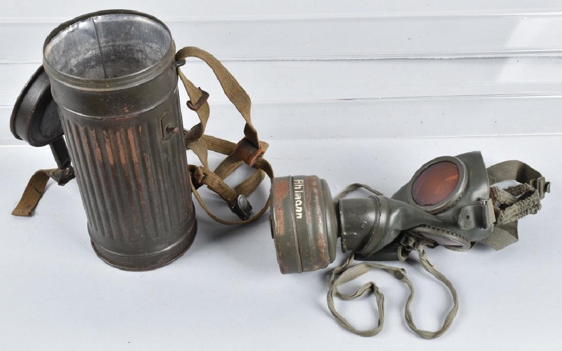 WW2 GERMAN GERMAN GAS MASK & CANISTER, ID'D