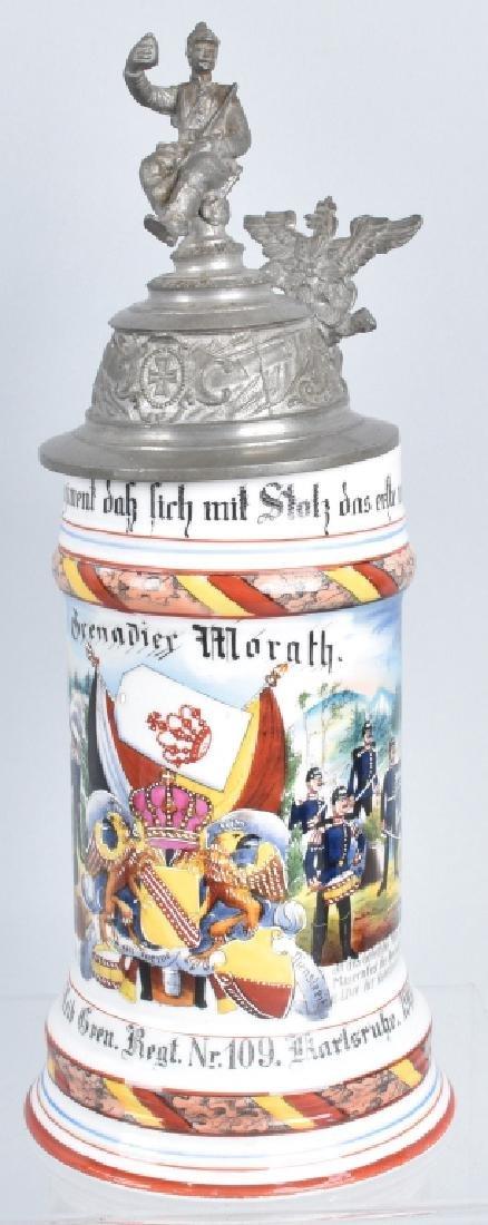 IMPERIAL GERMAN LITHOPANE REGIMENTAL STEIN