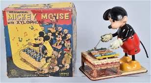 LINEMAR Tin Windup MICKEY MOUSE XYLOPHONE wBOX