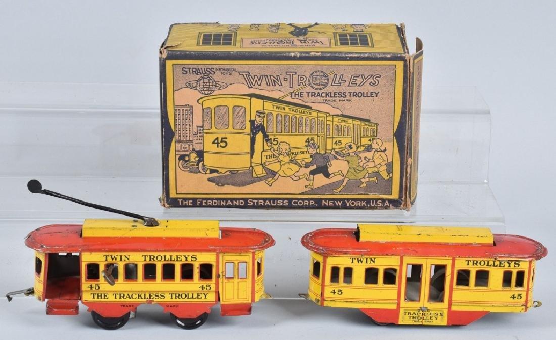 STRAUSS Tin Windup TWIN TROLLEYS w/BOX