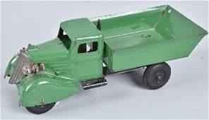 WYANDOTTE 1930'S ROOSTER COMB DUMP TRUCK, GREEN