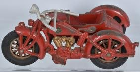 HUBLEY CAST IRON TOY MOTORCYCLE and SIDECAR