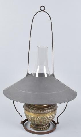 ANTIQUE GENERAL STORE KEROSENE CEILING LAMP