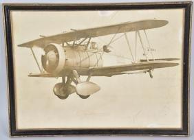 LARGE PHOTO OF BI-PLANE IN FLIGHT