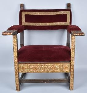 17th CENTURY CARVED WIDE SEAT CHAIR