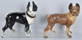 2- BOSTON TERRIER CAST IRON DOORSTOPS