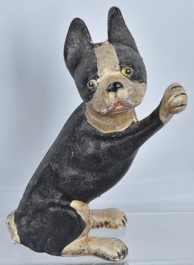 BOSTON TERRIER PAWS UP CAST IRON DOORSTOP