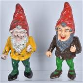 2 LARGE GNOME CAST IRON DOORSTOPS