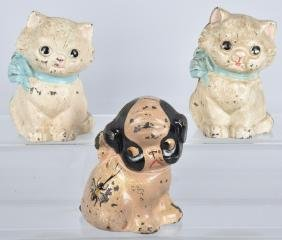 3-HUBLEY CAST IRON STILL BANKS, CATS and PUPPY