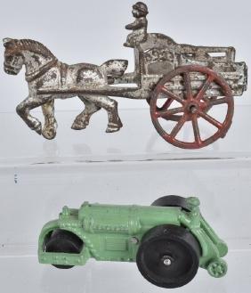 HERCULES CAST IRON ROAD ROLLER & HORSE CART