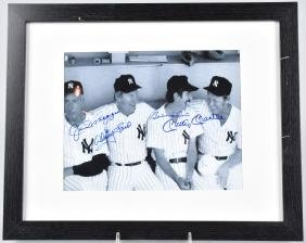 NY YANKEE AUTOGRAPHED PICTURE, MANTLE, DIMAGGIO