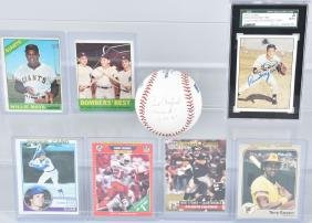 BASEBALL, FOOTBALL LOT, SIGNED BALL, CARDS & MORE
