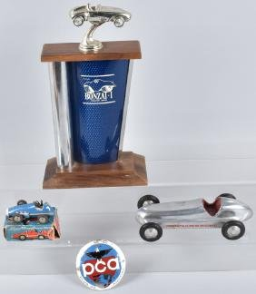 2-VINTAGE TOY RACE CARS, TROPHY and MORE