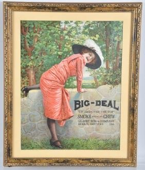 BIG DEAL SMOKE and CHEW TOBACCO SIGN, FRAMED
