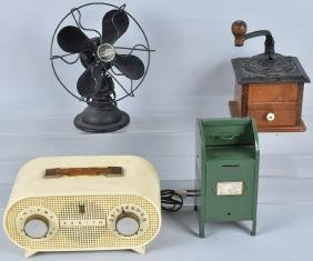 VINTAGE COLLECTIBLE LOT, FAN, RADIO & MORE