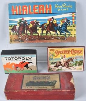 4-VINTAGE HORSE & GREY HOUND RACE GAMES, BOXED