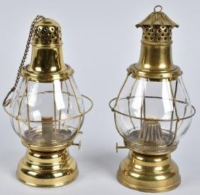 2-HOLMES, BOOTH & HAYDENS BRASS OIL LANTERNS