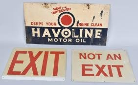 3-VINTAGE TIN SIGNS, HAVOLINE OIL and MORE
