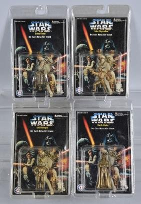 4- STAR WARS DIECAST KEY CHAINS MOC