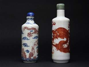 Two cylindrical snuff bottles