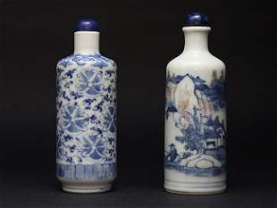 Two blue and white porcelain snuff bottles.