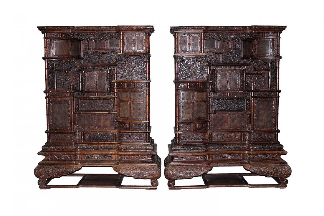 A pair of big Zitan display cabinets