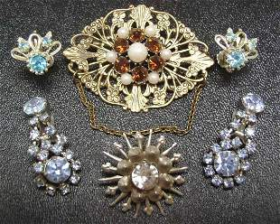 Vintage Costume Rhinestone Jewelry 6 pc. Lot NR