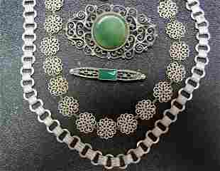 Vintage Mexican Sterling Pin & More Jewelry NR