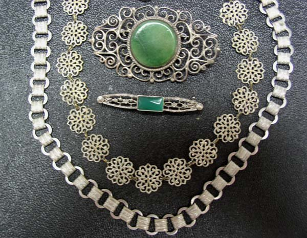 3: Vintage Mexican Sterling Pin & More Jewelry NR