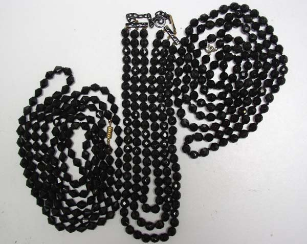 5: Vintage Black Jet Faceted Beads 3 Sets Jewelry NR