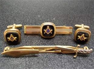 Vintage 4 pc. Mans Masonic Cufflink Tie Clip Plus NR
