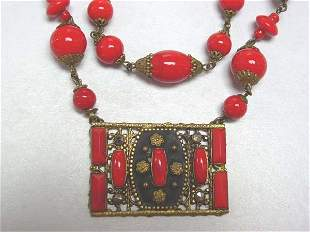 Vintage Red Glass Neck Piece Czech? Great NR