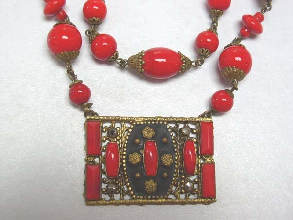 8: Vintage Red Glass Neck Piece Czech? Great NR