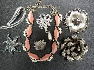 Vintage Hobe' Pin Plus 6 pc Costume Jewelry Lot NR