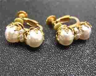 Vintage Miriam Haskell Double Pearl Clip Earrings N