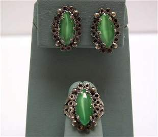 Vintage Mexican Silver Ring / Earring Set Green NR