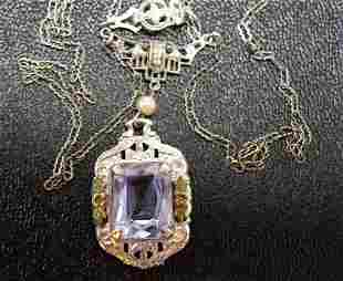 Vintage Art Deco Silver Filagree Necklace NR
