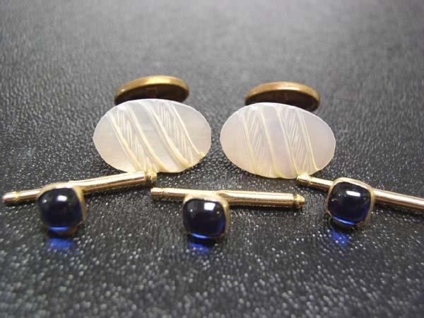 19: Vintage Gents MOP Cuff Links, Tux Studs NR