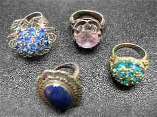 4) Vintage Costume Jewelry Rings NR