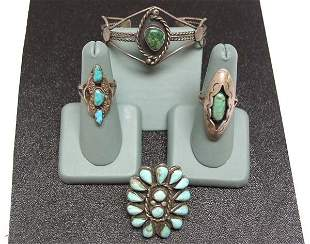 4 Large Vintage Silver Indian Jewelry Pieces NR