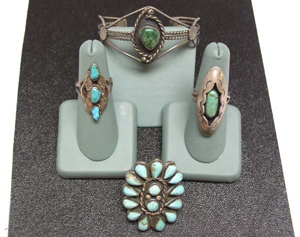 24: 4 Large Vintage Silver Indian Jewelry Pieces NR