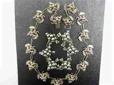28: Vintage Sterling Taxco Grape 2 pc. Set NR