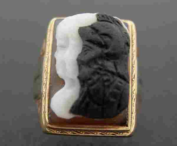 800: Vintage Victorian Mans Double Agate Cameo Ring NR