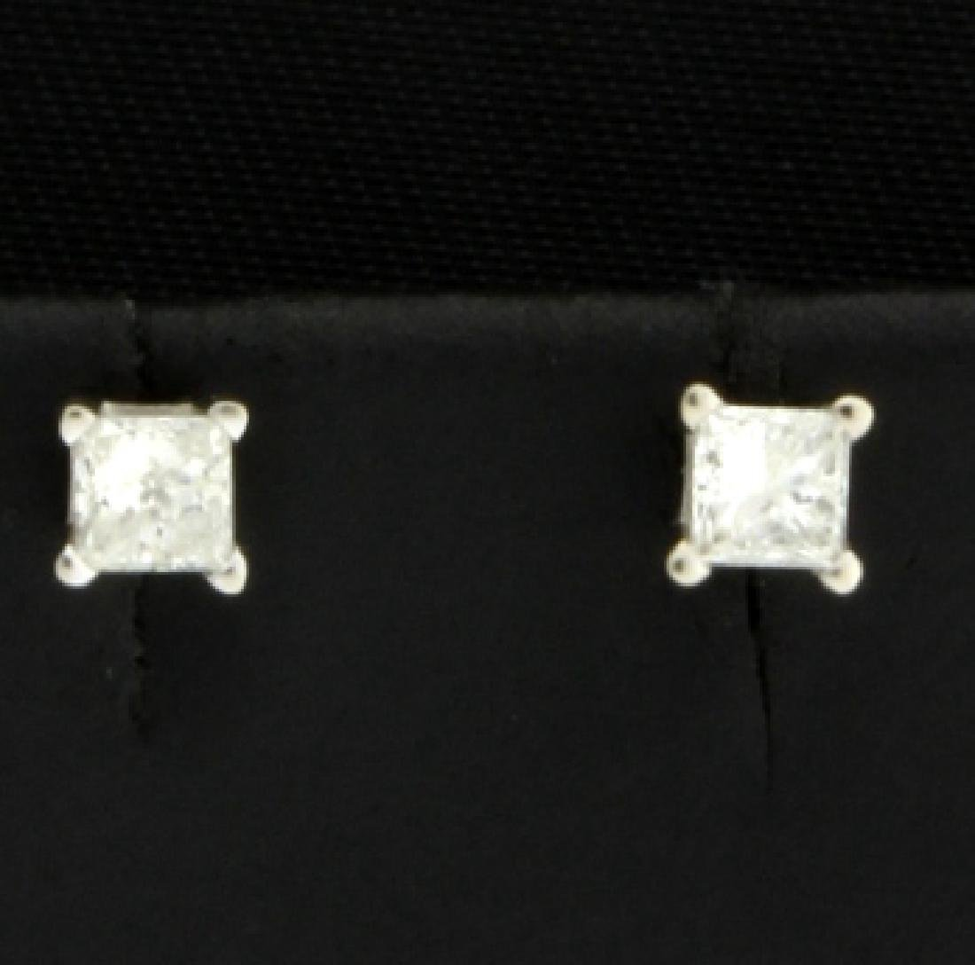 1/4ct Total Weight Princess Diamond Stud Earrings