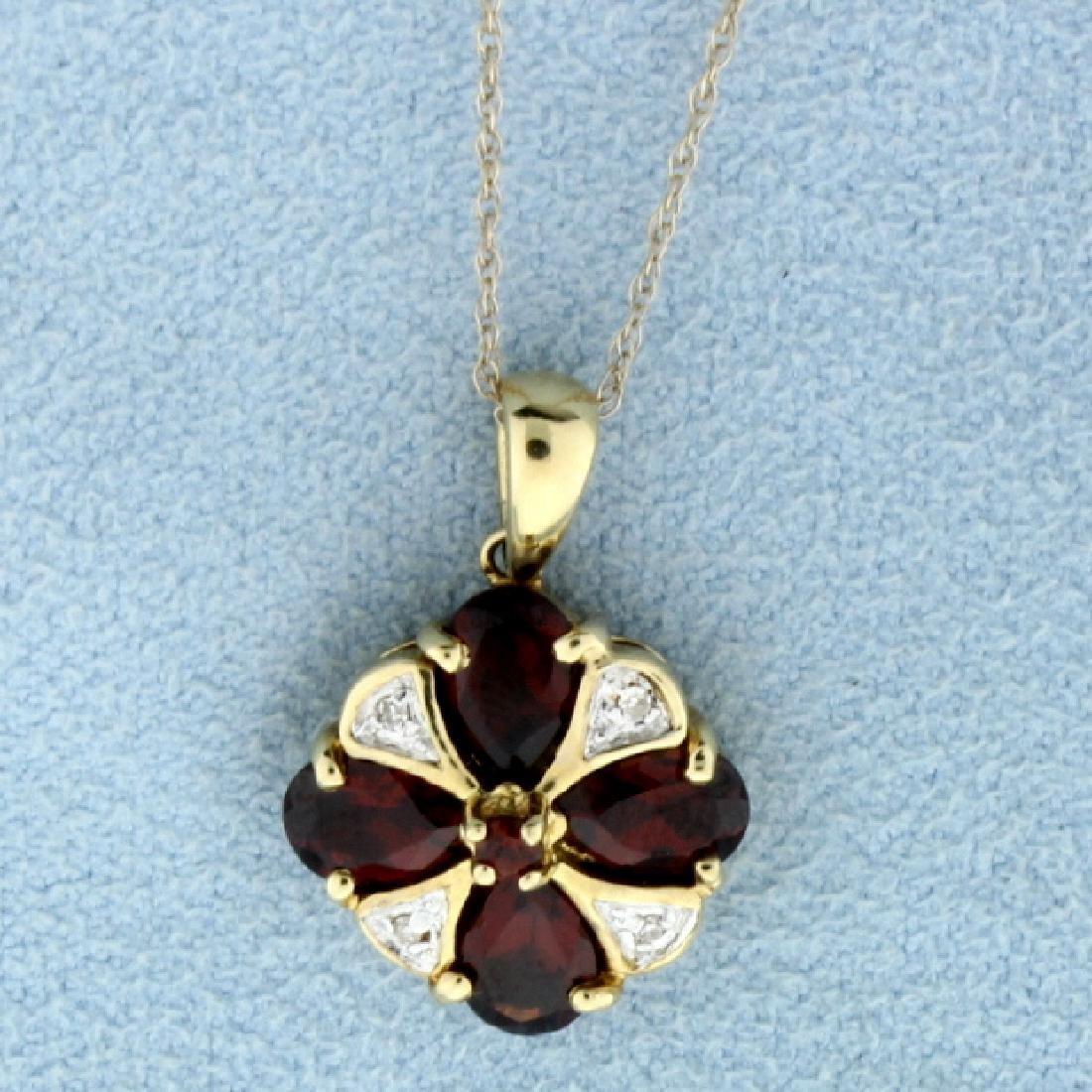 Garnet & Diamond Pendant with chain