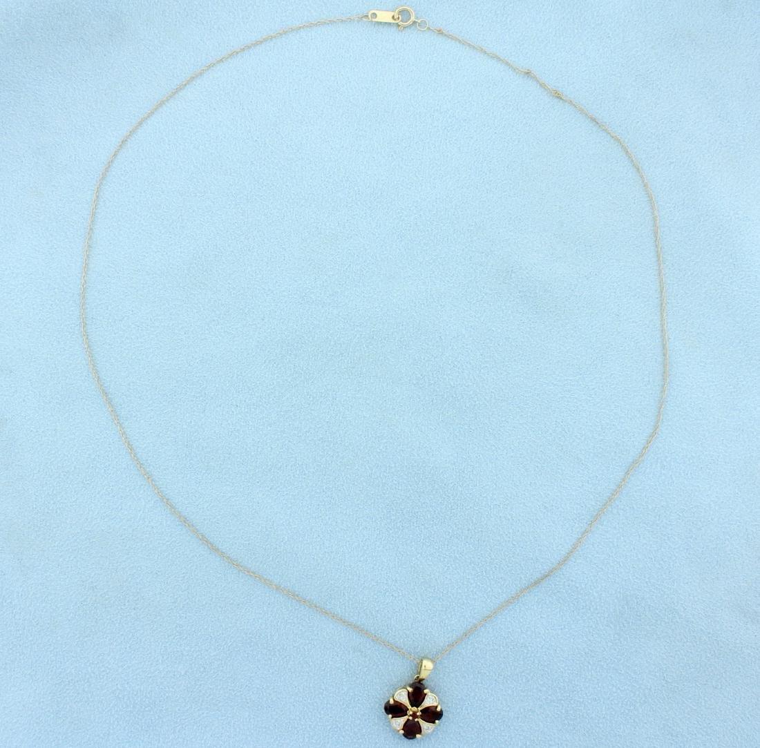 Garnet & Diamond Pendant with chain - 2