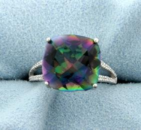 Large Mystic Topaz Ring with Diamonds