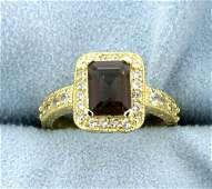 Halo Style Citrine Ring in 14k Yellow Gold over