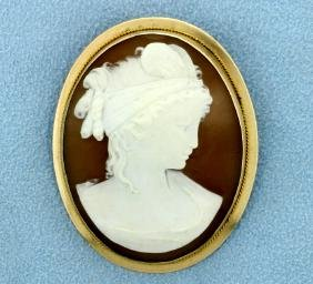 Cameo Pin or Pendant in 14k Gold